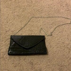 Forever 21 Black Clutch Purse with Silver Chain